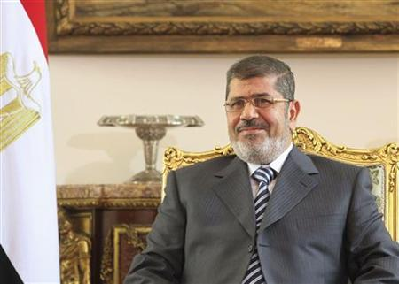 Egyptian President Mohamed Mursi talks with U.S. Senator John McCain (not seen) during their meeting in Cairo January 16, 2013. REUTERS/Asmaa Waguih (EGYPT - Tags: POLITICS)