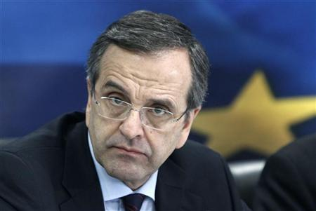 Greece's Prime Minister Antonis Samaras attends a news conference at the Development Ministry in Athens January 9, 2013. REUTERS/John Kolesidis
