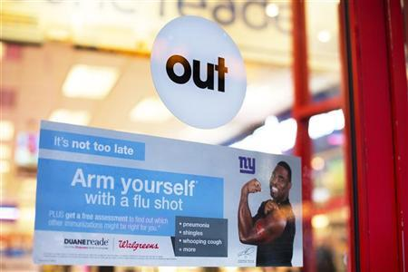 A sign advertising the availability of flu shots is taped onto a door of a Duane Reade in New York, January 14, 2013. REUTERS/Lucas Jackson