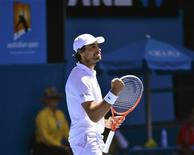 Jeremy Chardy of France reacts during his men's singles match against Juan Martin del Potro of Argentina at the Australian Open tennis tournament in Melbourne January 19, 2013. REUTERS/Toby Melville
