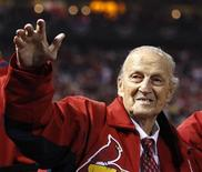 Former St. Louis Cardinals and hall of famer Stan Musial greets fans before the start of Game 4 of the MLB NLCS playoff baseball series against the San Francisco Giants in St. Louis, Missouri, in this file photo taken October 18, 2012. REUTERS/Jeff Haynes