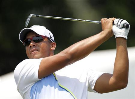 Jhonattan Vegas of Venezuela tees off on the 10th hole during the second round of the AT&T National golf tournament in Bethesda, Maryland June 29, 2012. REUTERS/Jason Reed