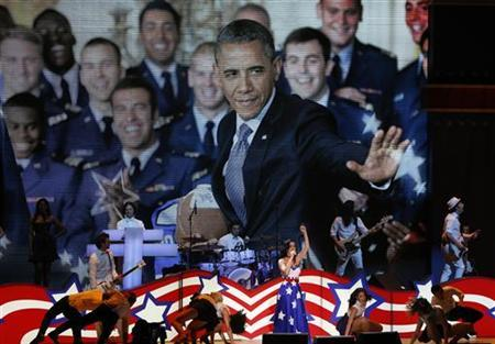 Katy Perry performs under a photograph of U.S. President Barack Obama at the Kids Inaugural concert for children and military families, one of the events ahead of the second-term inauguration of President Obama in Washington January 19, 2013. REUTERS/Jonathan Ernst