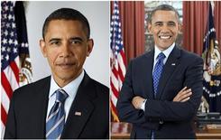 El presidente Barack Obama inició el sábado los actos de la toma de posesión de su segundo mandato participando en una jornada de servicios comunitarios en honor al asesinado líder de los derechos civiles Martin Luther King. En la imagen, dos retratos de Obama del 13 de enero de 2009 y del 6 de diciembre de 2012. REUTERS/Pete Souza/The White House/Handout