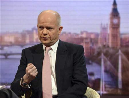 Britain's Foreign Secretary William Hague appears on the Andrew Marr Show political program at BBC studios in London January 20, 2013. REUTERS/Jeff Overs/BBC/handout