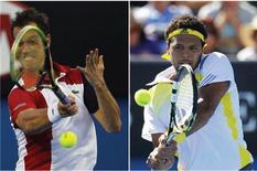 Cinq ans après une confrontation qui avait marqué l'histoire du tennis français, Jo-Wilfried Tsonga (tête de série n°7) et Richard Gasquet (n°9) se retrouveront à nouveau lundi en huitième de finale de l'Open d'Australie, dans la même Rod Laver Arena. /Photo prise les 17 et 19 janvier 2013/REUTERS/Navesh Chitrakar