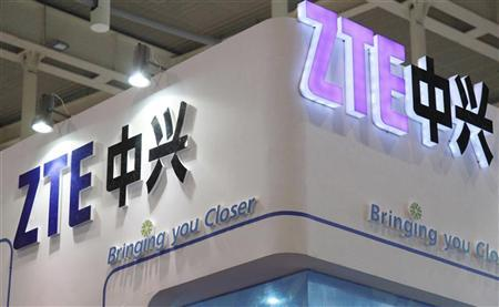 ZTE company logos are seen at an international software and information services exhibition in Nanjing, Jiangsu province September 6, 2012. REUTERS/China Daily