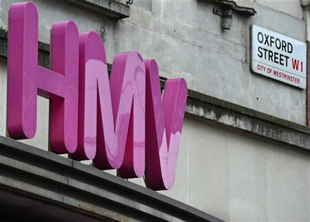 The sign of an HMV store is seen in central London December 13, 2012. REUTERS/Toby Melville