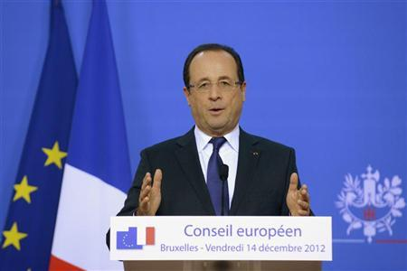 France's President Francois Hollande holds a news conference during a European Union leaders summit, in Brussels December 14, 2012. REUTERS/Eric Vidal