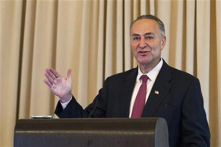 Senator Charles Schumer (D-NY) speaks during the Sandler O'Neill + Partners, L.P. global exchange and brokerage conference in New York June 8, 2012. REUTERS/Lucas Jackson