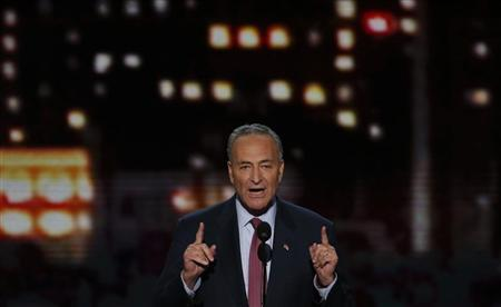 U.S. Senator Charles Schumer (D-NY) addresses the second session of the Democratic National Convention in Charlotte, North Carolina September 5, 2012. REUTERS/Jason Reed