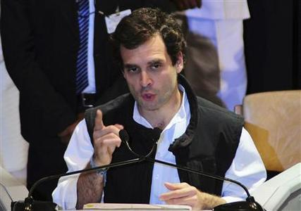 Rahul Gandhi, a lawmaker and son of India's ruling Congress party chief Sonia Gandhi, speaks during the All India Congress Committee (AICC) meeting in Jaipur, capital of India's desert state of Rajasthan January 20, 2013. REUTERS/Stringer