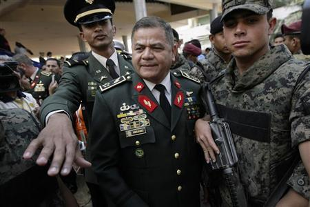 Honduras' Army Chief and Military Chief of Staff, General Romeo Vasquez is seen after the inauguration ceremony of the first session of the new congress in Tegucigalpa January 25, 2010. REUTERS/Edgard Garrido