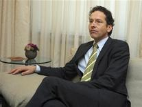Netherlands' Finance Minister Jeroen Dijsselbloem takes a seat during his meeting with Luxembourg's Prime Minister and Eurogroup Chairman Jean-Claude Juncker in Luxembourg January 18, 2013. REUTERS/Laurent Dubrule