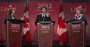 Federal Liberal Party leadership candidates Justin Trudeau (C), Karen McCrimmon (L), and Joyce Murray speak during a leadership debate in Vancouver, British Columbia January 20, 2013. REUTERS/Andy Clark