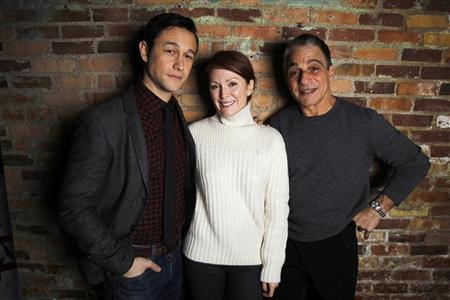 Cast members Joseph Gordon-Levitt (L), Julianne Moore (C) and Tony Danza of the film ''Don Jon's Addiction'' pose during the Sundance Film Festival in Park City, Utah January 19, 2013. REUTERS/Mario Anzuoni