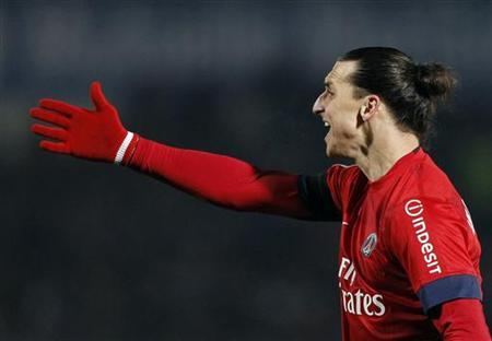 Paris Saint-Germain's Zlatan Ibrahimovic reacts during his French Ligue 1 soccer match at the Chaban Delmas Stadium in Bordeaux, Southwestern France, January 20, 2013. REUTERS/Regis Duvignau