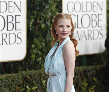 Actress Jessica Chastain, from the film ''Zero Dark Thirty,'' arrives at the 70th annual Golden Globe Awards in Beverly Hills, California, January 13, 2013. REUTERS/Mario Anzuoni