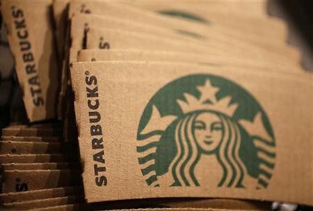 Branded packaging is seen in Starbucks' Vigo Street branch in Mayfair, central London January 11, 2013. REUTERS/Stefan Wermuth