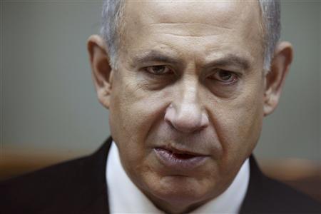 Israel's Prime Minister Benjamin Netanyahu attends the weekly cabinet meeting in Jerusalem January 20, 2013. REUTERS/Gali Tibbon/Pool