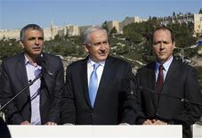 "Israel's Prime Minister Benjamin Netanyahu (C) stands with Jerusalem Mayor Nir Barkat (R) and Communications Minister Moshe Kahlon outside the Menachem Begin Heritage Center in Jerusalem January 21, 2013. Netanyahu made an election eve appeal to wavering supporters to ""come home"", showing concern over a forecast far-right surge that would keep him in power but weaken him politically. REUTERS/Baz Ratner"