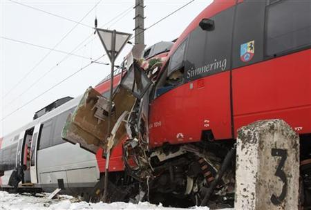 Two demolished S45 trains are pictured after a train crash in Vienna January 21, 2013. REUTERS/Heinz-Peter Bader