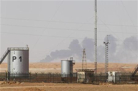 Smoke rises above following demining operations at the Tiguentourine Gas Plant, located about 50 km from the town of In Amenas January 20, 2013. REUTERS/Louafi Larbi