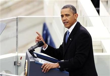 U.S. President Barack Obama speaks during swearing-in ceremonies on the West front of the U.S Capitol in Washington, January 21, 2013. REUTERS/Kevin Lamarque