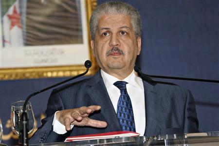 Algeria's Prime Minister Abdelmalek Sellal holds a news conference in Algiers January 21, 2013. Sellal said a total of 37 foreign workers died, seven still missing; 29 militants had been killed and three captured alive in the siege, in a hostage crisis at an Algerian desert gas plant, which Algerian forces ended on Saturday by storming the plant. Sellal also told a news conference that a Canadian had coordinated the attack by Islamists on the site near the Libyan border. REUTERS/Stringer