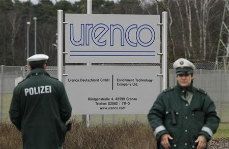 German police officers stand guard outside the German uranium enrichment plant of URENCO Ltd. during an anti-nuclear protest march through the western German town of Gronau close to the Dutch/German border in North-Rhine Westphalia March 11, 2012. Reuters/Wolfgang Rattay