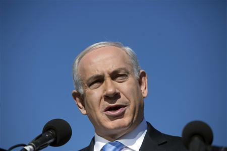 Israel's Prime Minister Benjamin Netanyahu delivers a statement outside the Menachem Begin Heritage Center in Jerusalem January 21, 2013. REUTERS/Baz Ratner