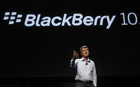 Research In Motion CEO Thorsten Heins gestures as he delivers his keynote address during the Blackberry Jam Americas in San Jose, California September 25, 2012. REUTERS/Robert Galbraith