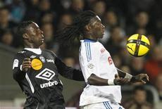 Massadio Haidara (à gauche), latéral gauche de l'AS Nancy Lorraine, va signer un contrat avec Newcastle, club de Premier League anglaise. /Photo prise le 18 février 2011 à Lyon/REUTERS/Robert Pratta