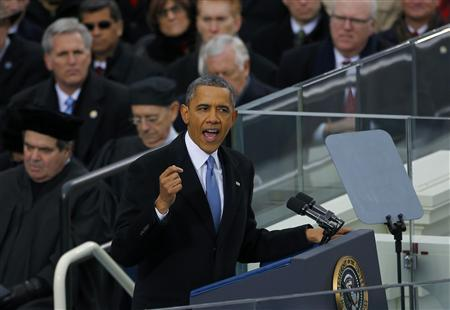 U.S. President Barack Obama delivers his inaugural address during inauguration ceremonies in Washington, January 21, 2013. REUTERS/Brian Snyder
