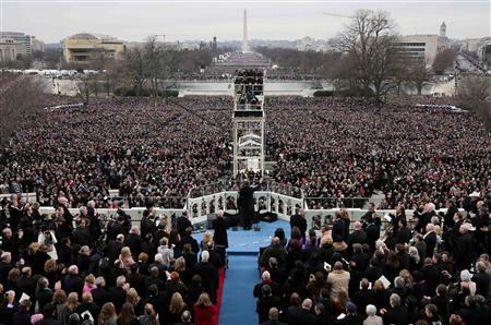 U.S. President Barack Obama gives his inauguration address after being sworn in at the presidential inauguration at the U.S. Capitol in Washington January 21, 2013. REUTERS/Rob Carr/Pool (UNITED STATES - Tags: POLITICS)