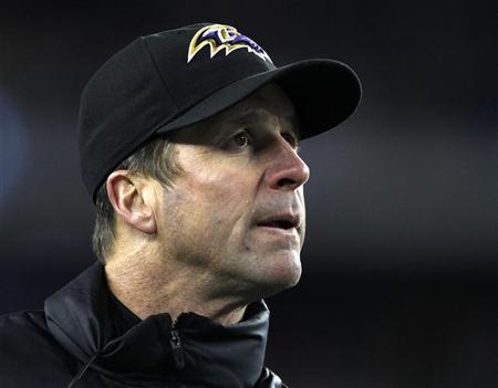 Baltimore Ravens head coach John Harbaugh directs his team against the New England Patriots in the NFL AFC Championship football game in Foxborough, Massachusetts, January 20, 2013. REUTERS/Adam Hunger (UNITED STATES - Tags: SPORT FOOTBALL)