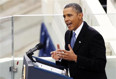U.S. President Barack Obama speaks during swearing-in ceremonies on the West front of the U.S Capitol in Washington, January 21, 2013. REUTERS/Kevin Lamarque (UNITED STATES - Tags: POLITICS)