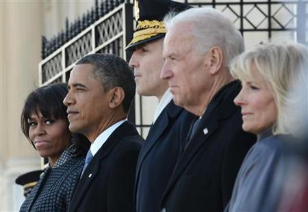 U.S. President Barack Obama, first lady Michelle Obama, U.S. Army Major General Michael J. Linnington (C), Vice President Joe Biden and his wife Dr. Jill Biden attend the presidential review of the troops at the U.S. Capitol during presidential inauguration ceremonies in Washington, January 21, 2013. REUTERS/Linda Davidson/Pool