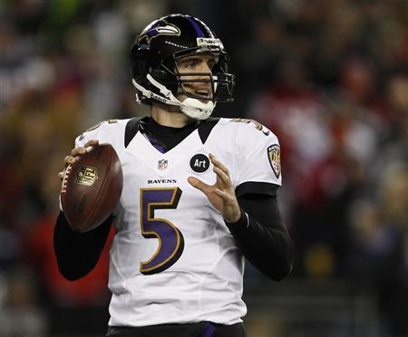 Baltimore Ravens quarterback Joe Flacco looks to pass against the New England Patriots during the NFL AFC Championship football game in Foxborough, Massachusetts, January 20, 2013. REUTERS/Adam Hunger (UNITED STATES - Tags: SPORT FOOTBALL)