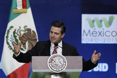 Mexico's President Enrique Pena Nieto delivers a speech during the inauguration ceremony of the Forum Mexico 2013: Public Policies for Inclusive Development, at Centro Banamex in Mexico City, January 9, 2013. REUTERS/Henry Romero