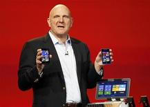 Microsoft CEO Steve Ballmer displays Windows Phone 8 devices at the Qualcomm pre-show keynote at the Consumer Electronics Show (CES) in Las Vegas January 7, 2013. REUTERS/Rick Wilking