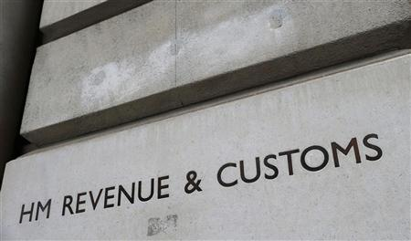 The name is engraved into the stone on the entrance to the HM Revenue & Customs building in Whitehall, central London December 14, 2012. REUTERS/Suzanne Plunkett