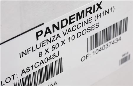 The first shipment of pandemic vaccine against the swine influenza A (H1N1) Pandemrix arrives in Malmo in this October 9, 2009 file photo. REUTERS-Scanpix