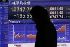 El Índice Nikkei cedió el martes en un mercado sin dirección tras perder la subida que se produjo después de que el Banco de Japón anunciara un objetivo de inflación del dos por ciento y un compromiso de compras ilimitadas de activos. En la imagen, un hombre pasa junto a un panel con un índice bursátil en Tokio, el 21 de enero de 2013. REUTERS/Kim Kyung-Hoon