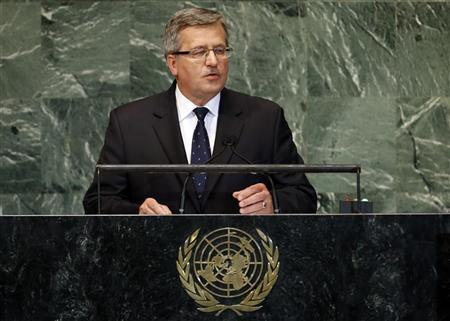President of Poland Bronislaw Komorowski addresses the 67th United Nations General Assembly at U.N. headquarters in New York, September 26, 2012. REUTERS/Mike Segar