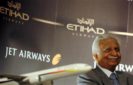 File photo of Jet Airways Chairman Naresh Goyal at a news conference to announce a code sharing agreement with United Arab Emirates Etihad Airways, in Mumbai June 10, 2008. REUTERS/Punit Paranjpe