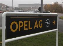 A sign reading 'Opel AG' is pictured at the Opel plant of Bochum October 24, 2012. REUTERS/Ina Fassbender (GERMANY - Tags: TRANSPORT BUSINESS EMPLOYMENT)