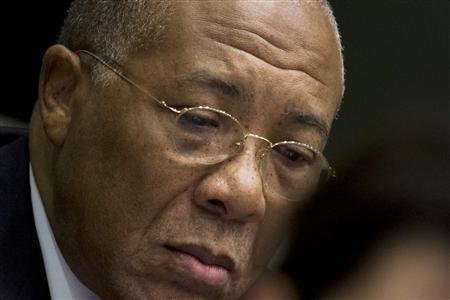 Former Liberian President Charles Taylor appears in court at the Special Court for Sierra Leone in Leidschendam, western Netherlands, January 22, 2013. REUTERS/Peter Dejong/Pool