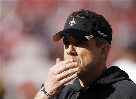 New Orleans Saints head coach Sean Payton looks on before his team met the San Francisco Giants in their NFL NFC Divisional playoff football game in San Francisco, California January 14, 2012. REUTERS/Robert Galbraith