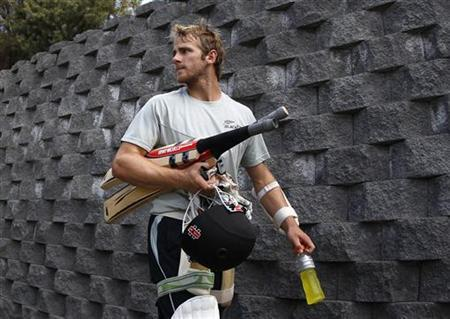 New Zealand's Kane Williamson arrives at the nets during a practice session ahead of their second test against Australia in Hobart December 8, 2011. REUTERS/Daniel Munoz/Files